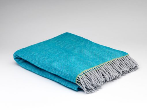 turquoise blue pure wool throw