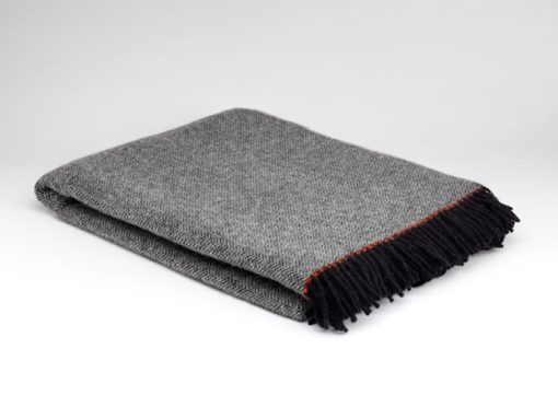 stormy grey pure wool throw