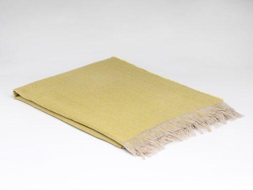 Blazing yellow Irish linen throw
