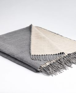 feather grey linen and merino wool throw