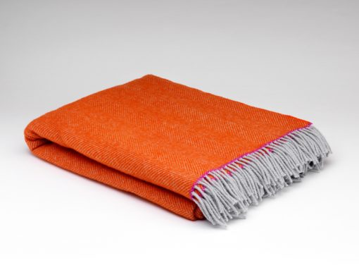 Orange pop pure wool throw