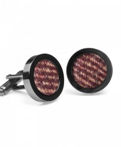 Freckled Wine Donegal Tweed Cufflinks