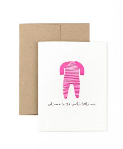 Welcome To The World Pink Greetings Card