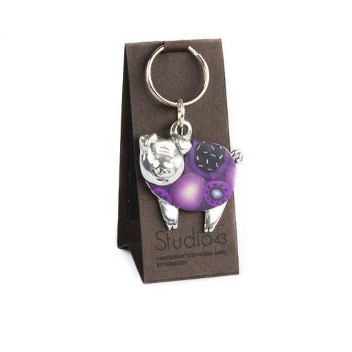 Purple Pig Keyring