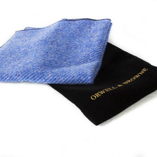 Cornflower Blue Donegal Tweed Pocket Square